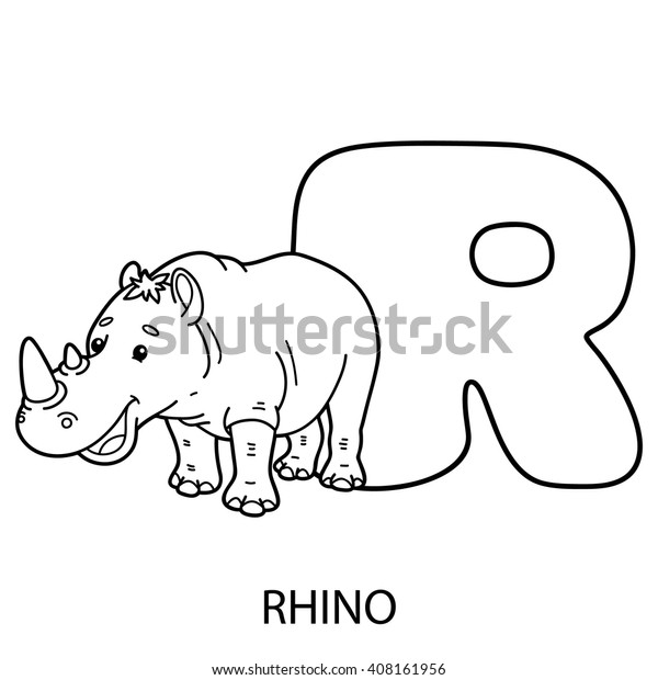 Animal Alphabet Coloring Page Vector Illustration Stock ...