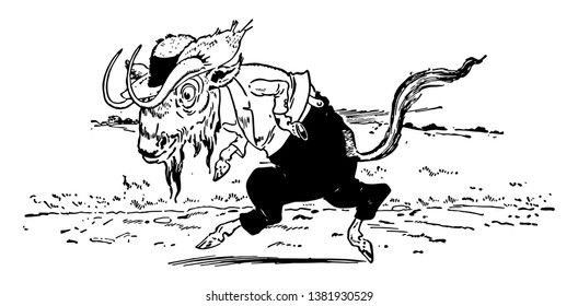 Animal Alphabet G, Gnu, this picture shows Gnu animal in human dress wore hat and walking on ground, vintage line drawing or engraving illustration