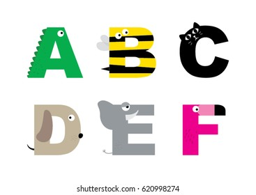 Animal alphabet graphic A to F