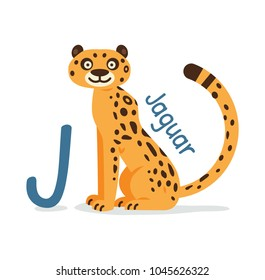 animal alphabet - J for Jaguar cute and funny feline animal 100% vector