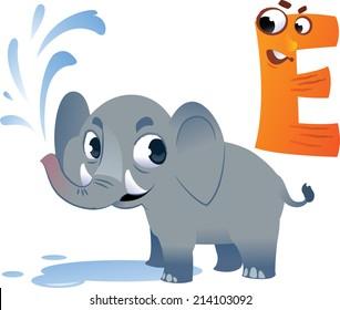 Animal alphabet for the kids: E for the Elephant