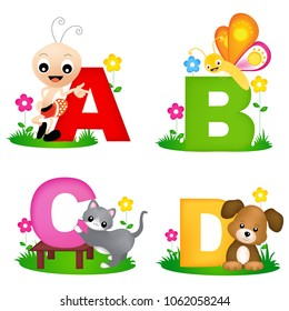 Animal alphabet letter A, B , C, D with cute animals, ant , butterfly, cat and dog