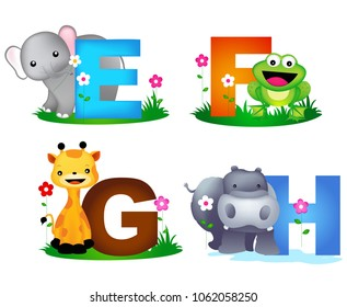 Animal alphabet letter E, F, G, H with cute animals, elephant, giraffe, hippo, and frog