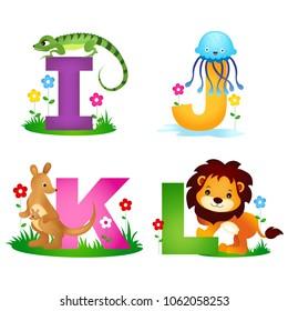 Animal alphabet letter I , J , K, L with cute animals iguana, jellyfish, kangaroo and lion