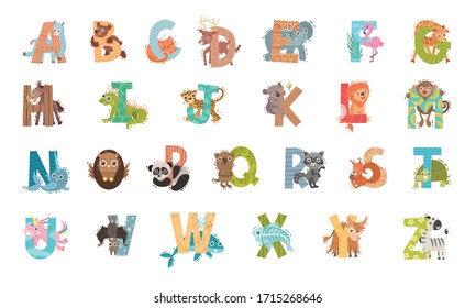 Animal Alphabet with Ornamental Letters and Zoo Creatures Vector Set