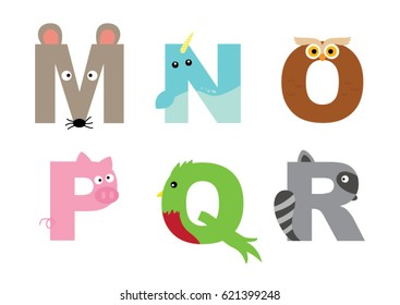 Animal alphabet vector graphic M to R