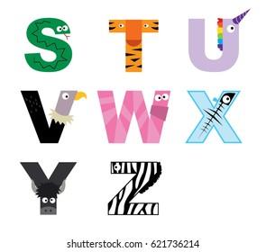 Animal alphabet vector graphic S to Z