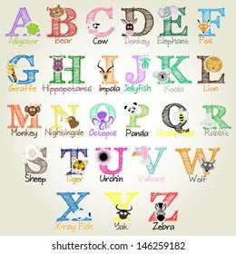 Animal Alphabet - Vector Illustration EPS10