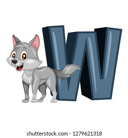 Animal Alphabet. W is for Wolf. Vector Illustration of a Happy Wolf. Cute Cartoon Wolf Isolated on a White Background. Happy Animals Set