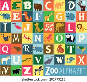 Animal Alphabet. Zoo alphabet .