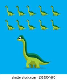 Animal Animation Sequence Dinosaur Brachiosaurus Walking Cartoon Vector