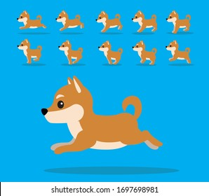 Animal Animation Sequence Dog Shiba Inu Cartoon Vector