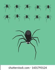 Animal Animation Spider Walking Cute Cartoon Vector Illustration