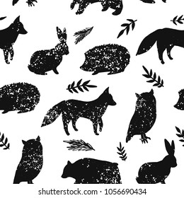 Animal artistic silhouettes. Seamless pattern