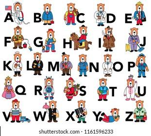 Animal a-z alphabet, bear career set  illustration, vector