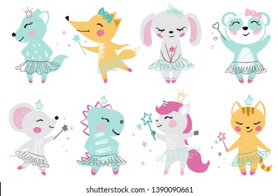 Animal baby girl cute print. Unicorn, bunny, fox, wolf, panda, mouse, cat, kitten, dinosaur with magic wand, bow, ballet tutu, pointe. Cool for nursery, child t-shirt, kids apparel, birthday card