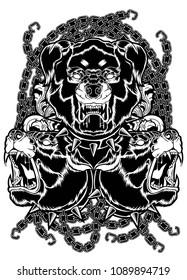 animal, background, black, cerberus, chain, design, dog, element, fantasy, furious, guard, head, hell, horror, illustration, isolated, mascot, monster, myth, mythology, sign, symbol, transpare