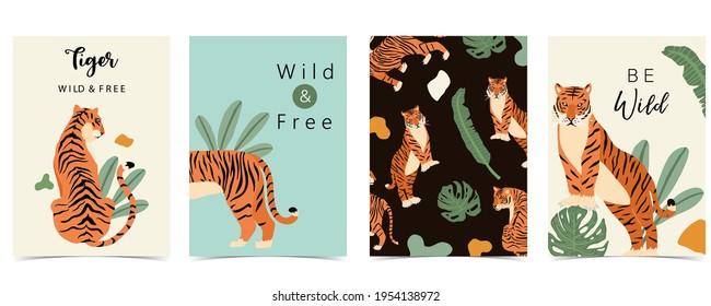 Tierhintergrund-Kollektion mit Tiger, Blatt, Dschungel. Illustration für Banner, Postkarte, Einladung