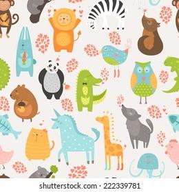 Animal background with cute bird, alligator, dog, hen, jellyfish, rabbit, owl, zebra, vole, wolf, unicorn, lion, koala, monkey, giraffe, panda and cat. Zoo love seamless pattern