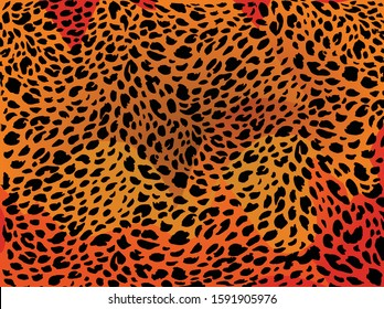Animal background pattern - red leopard skin texture. Background texture of red tiger skin. Sexy and femine organic zebra pattern. Use this texture for your unique design.
