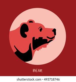 Animal Bear Vector illustration isolated on carmine