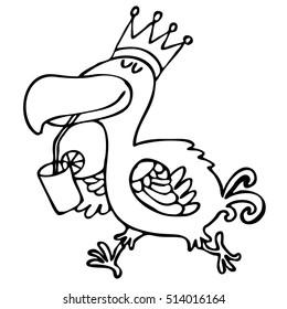 Animal. Bird dodo. King crown. Lemonade. Vector graphic art.