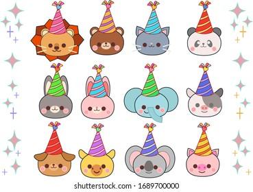 Animal birthday hat illustration material set