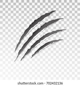Animal black scratches on transparent background. Paper claws animal scratching. Animal predator paw claw, knife scratch trace. Horror slash trace. vector illustration.
