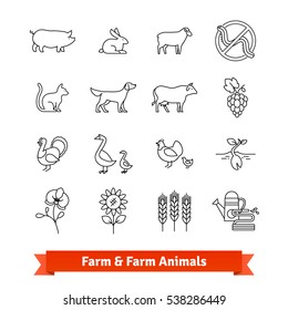 Animal breeding & farming thin line art icons. Vector set of agriculture, husbandry, cultivation linear style symbols isolated on white.