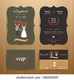Animal bride and groom cartoon wedding invitation RSVP card set on wood background