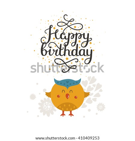 Animal Card Happy Birthday Kids Party Greeting With Cute