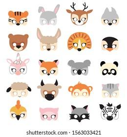 Animal carnival mask set, festival decoration for kids. Vector illustration.