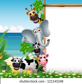 animal cartoon with blank sign and tropical beach background