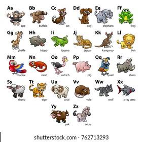 An animal cartoon character alphabet set abc educational wallchart