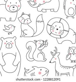 Animal Cartoon Line Background