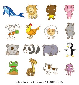 animal cartoon vector set