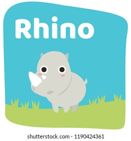 Animal Cartoons Collection Rhino Vector illustrations Teach vocabulary about animals