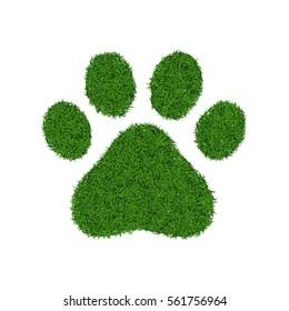 Animal cat or dog green grass footprint, vector illustration.
