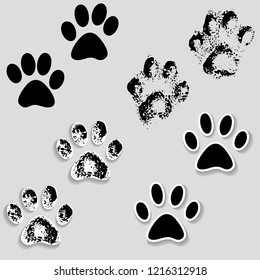 Animal cat paw track feet print icons with shadow. Foot grunge banner vector illustration traces isolated on white.
