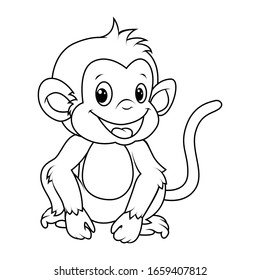 Monkey Coloring Page High Res Stock Images Shutterstock