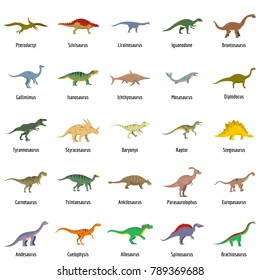 Animal character dinosaur vector icons set. Flat illustration of 25 dino pheristoric dinosaur types signed name vector icons isolated on white backround