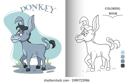 Animal character funny donkey in cartoon style coloring book page. Children's illustration. Vector illustration.