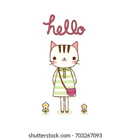 Animal character greeting card. Cute cartoon smiling cat and text hello. Isolated on white background. Children's illustration. Flat design. Vector illustration.