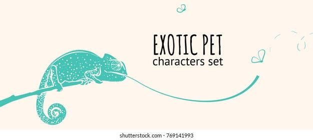Animal character illustration. Exotic pet. Chameleon doodle style catching insects.