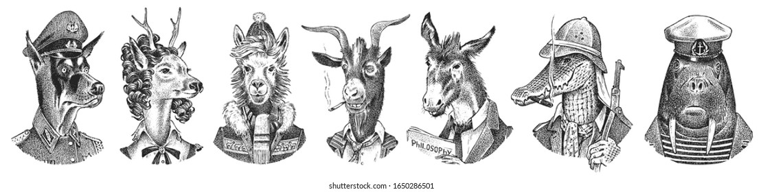 Animal characters set. Smoking Goat Llama skier Deer lady Walrus Crocodile Dog Donkey Alpaca. Hand drawn portrait. Engraved monochrome sketch for card, label or tattoo. Hipster Anthropomorphism.