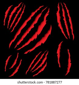 Animal Claws Scratching. Vector Illustration. Tiger or Bear Paw Scratching on Black Background.