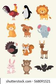 Animal Collection - Dog, Cat, Lion, Elephant ... Illustration