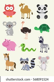 Animal Collection - Horse, Mouse, Panda, Turtle ... Illustration
