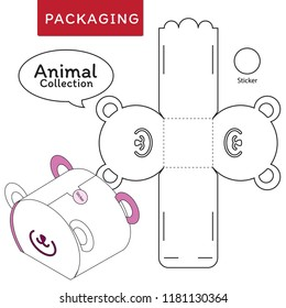 Animal collection vector Illustration of Box.Package Template. Isolated White Retail Mock up.