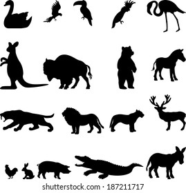 Animal collection - vector silhouette